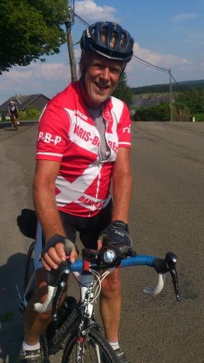 2014-07-23 Haderslev-Paris, 3. etappe i Belgia - Glad syklist :).